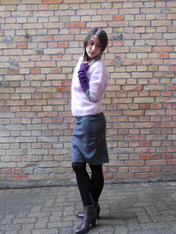 Mohair Sweater by Franco Callegari, Skirt Mango, Stockings Calcedonia, Ankleboots by Mally, Shirt whith the big neck, H&M