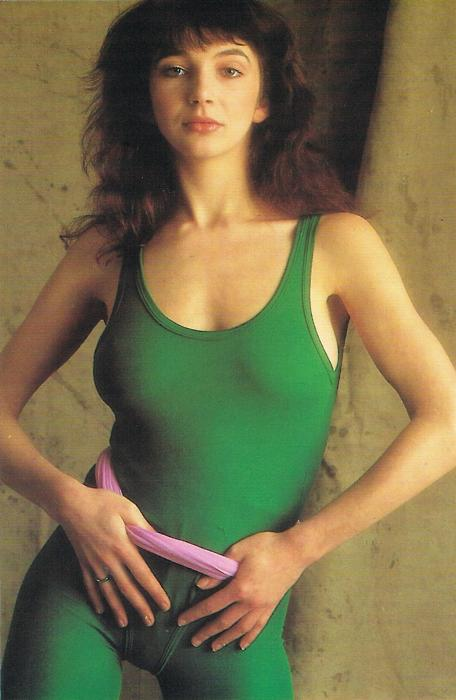 Kate Bush in green, those tight suits!
